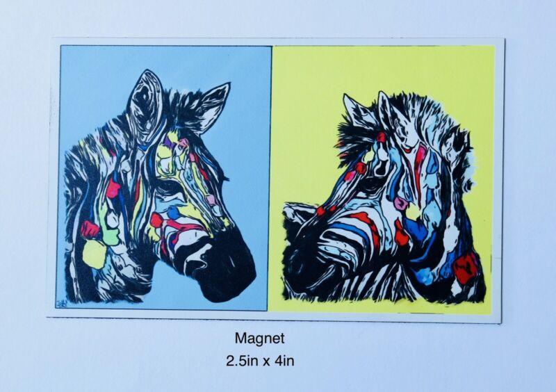 Colorful Zebra Art Magnet