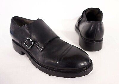 SILVANO SASSETTI New UK 9 US 9.5 Leather Buckled Monk Shoes In Black 9629