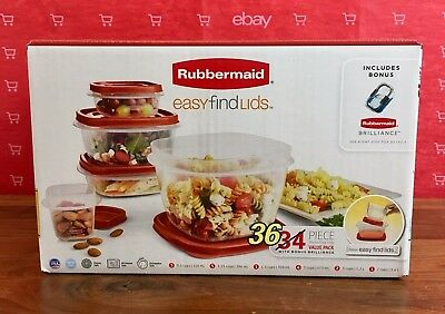 Rubbermaid Easy Find Lids 36 piece Food Storage Set Value Pack NEW