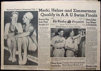 Aug 16  1942 Sunday Oregonian Newspaper   Beavers Win 3Rd Straight   Gehringer
