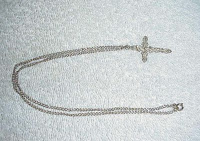 "SILVER TONE CHAIN WITH CRUCIFIX, CARVED LIKE FILAGREE, SEE PHOTOS.18"" CHAIN & 1"""