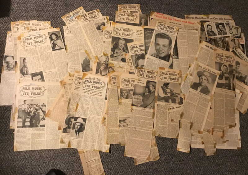 Folk Music And It's Folks 1949-1950s Country Music Article Lot Hank Williams Etc