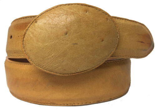 Mens, Yellow, Smooth, Ostrich, Exotic, Skin, Leather, Western, Rodeo, Cowboy, Belt, Size, 38