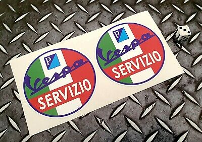 Vespa Servizio Italy Flag x2 90mm Stickers Decals Scooters Vans Moped piaggio