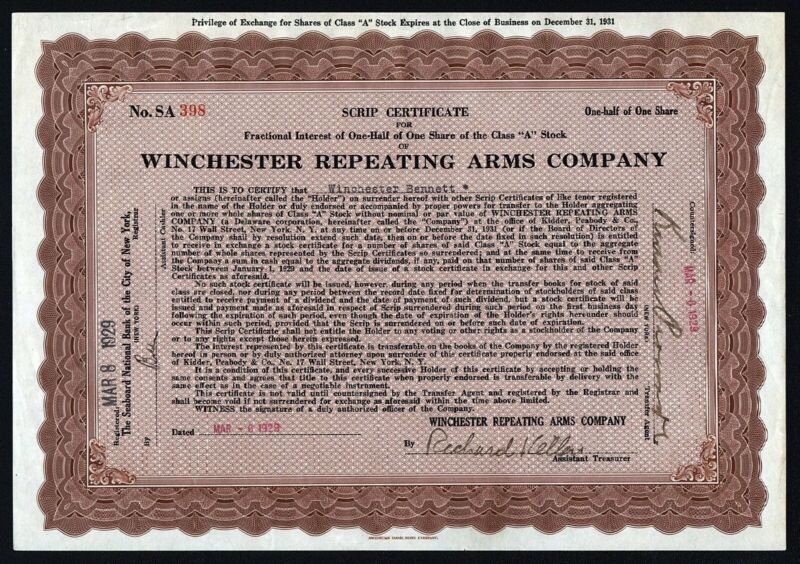 1929 Winchester Repeating Arms Company, Scrip Certificate