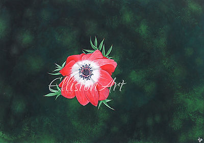 Flowers Christmas Floral Painting green red Realism Wall Art Anemone De Caen