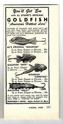 1954 Vintage Ad Al Stuarts Goldfish Fishing Lures Mite,Longtail,Helgy