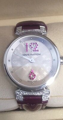 AUTHENTIC Ladies Louis Vuitton Tambour watch with diamonds and ruby numbers mono