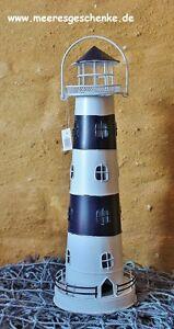 Maritime Deko Teelicht Leuchtturm in blau weiß aus Metall ca. 32 cm