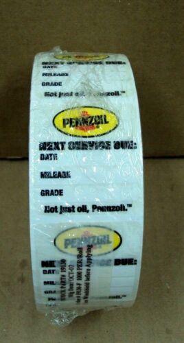 1000 PENNZOIL Garage Gas Station Shop LUBRICATION Oil Change #19130 STICKER ROLL