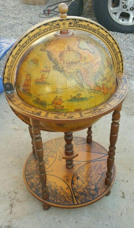 Original Vintage Old World Globe Bar Cart Mid Century Italian 38