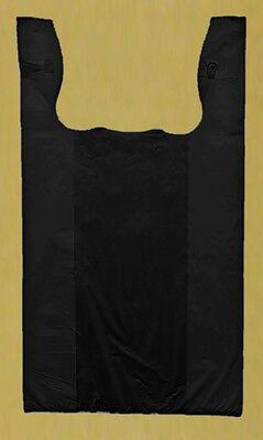 50 12x7x22 Black 1/6 Medium Retail High Density Plastic T-Shirt Bags