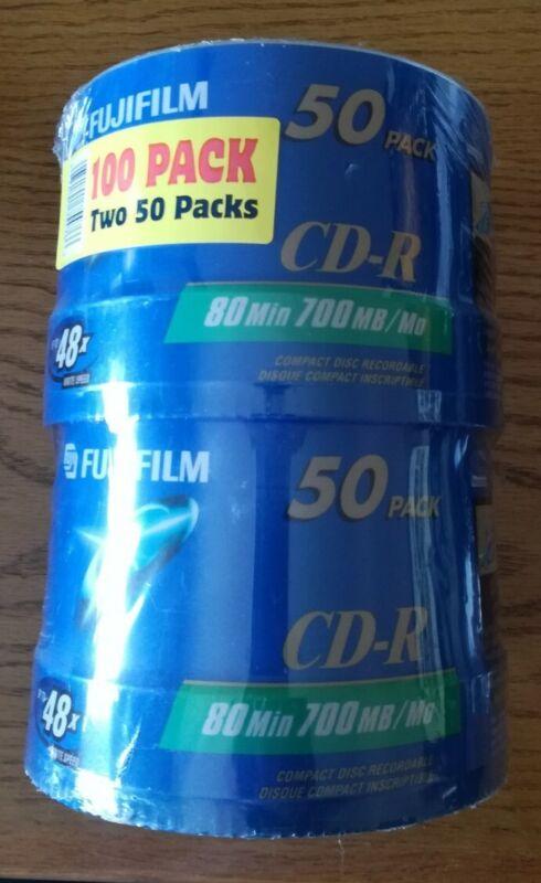 NEW FUJIFILM CD-R 100 PACK 80 Min 700 MB 48x Speed FREE SHIPPING