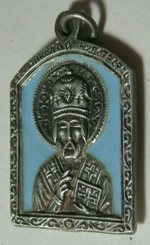 WWI Officer Icon Pendant Enamel Silver 84 Imperial Russian Moscow 1914