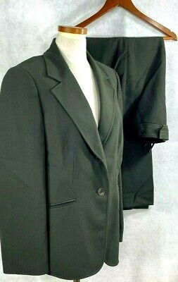 Tahari ASL Womens Olive Green Patterned Polyester Career Style Pant Suit sz 16