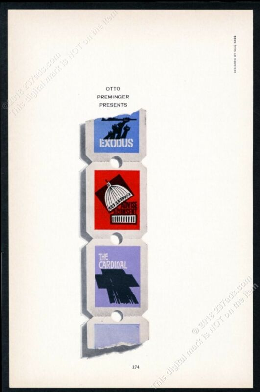 1962 Saul Bass art Exodus Advise & Consent Cardinal scarce trade print ad
