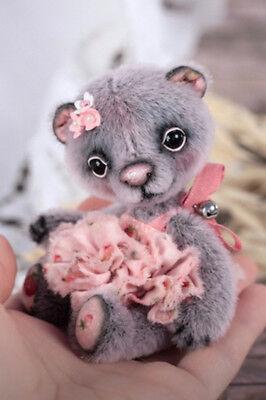 Teddy bear one of a kind artist mini handmade teddy, collectible toy, 10,5 cm