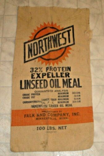 Vintage Northwest Linseed Oil Meal 100 lb Cloth Feed Sack Minneapolis, Minnesota