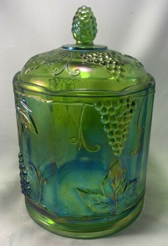 Indiana Iridescent Green Carnival Glass Harvest Grape Candy Cookie Jar Canister