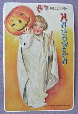 Vintage Move The Pumpkin Embossed Halloween Postcard * Girl Costume Mechanical