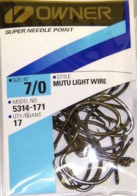 OWNER MUTU LIGHT WIRE CIRCLE HOOK SUPER NEEDLE POINT #5314-171 SIZE 7//0 QTY 17