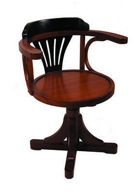 Pursers Home Office Desk Chair Black Honey Wooden Nautical Decor New
