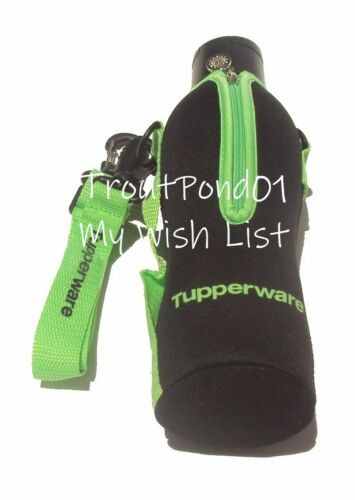Tupperware ECO 25 oz Sports Bottle +Insulated Carry All Tote Bag Black and Green