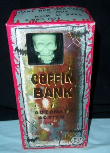 Vintage Yone Coffin Bank Tin With Original Box Yonezawa Japan