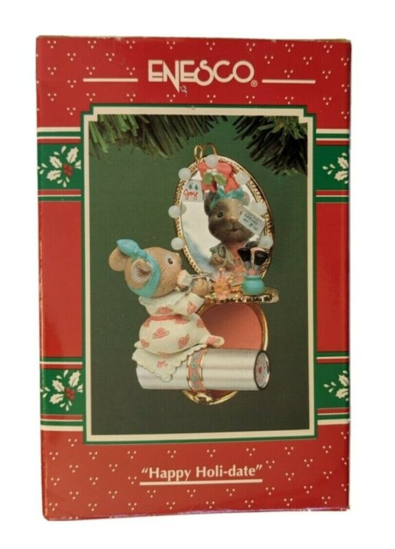 1994 ENESCO Miss Merry Mouse Make-up Case Christmas Ornament - Happy Holi-date