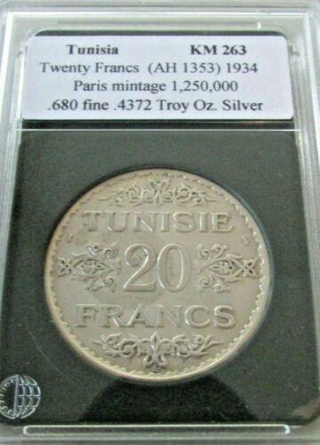 1934 Tunisia 20 Francs (AH 1353)
