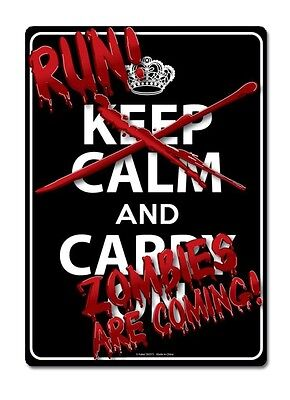 Run Zombies Are Coming Tin Sign Funny Room - Zombie Sign