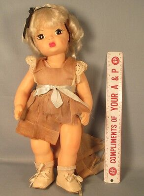 "Vintage Terri Lee HP Doll 16"" Hard Plastic Tagged but Tattered Dress"