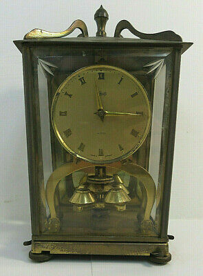 """Vintage Schatz & Sohne Brass Mantle Clock Made in Germany 8"""" Tall Rare MS88"""