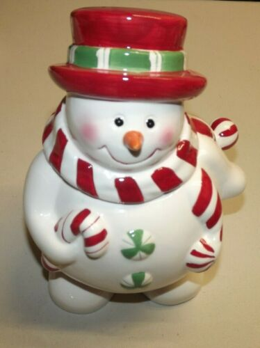 "East West Distributing Co. 10"" Snowman Cookie Jar Holiday Decoration Seasonal."