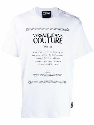 VERSACE JEANS COUTURE mens script print t-shirt white