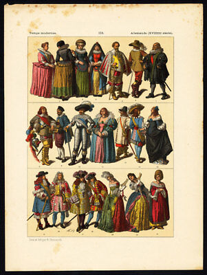 Antique Print-MODERN ERA-17TH CENTURY-GERMANY-COSTUME-Hottenroth-1884