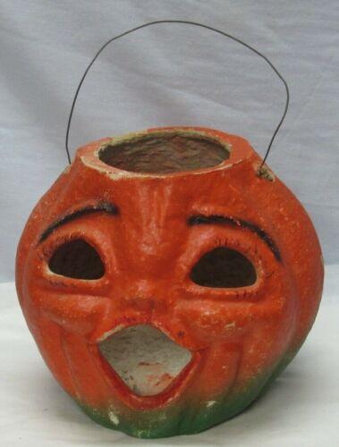 Vintage Paper Mache Jack O Lantern Original Wire Handle Halloween Pumpkin