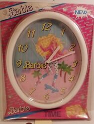 Extra Large Vintage Barbie Doll Wall Clock 1989 NEW NIP