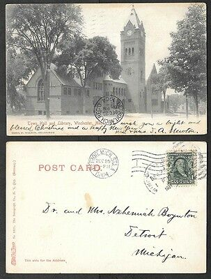 For sale 1904 Massachusetts Postcard - Winchester - Town Hall, Library - Rotograph