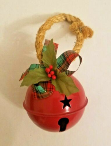 vintage Christmas round sleigh bell stars with holly and rope ornament china