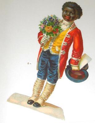 1 x Glanzbild-Scrabs -Oblate alte gestanzt Mohr mit Blumenstrauss ca. 15,5 cm