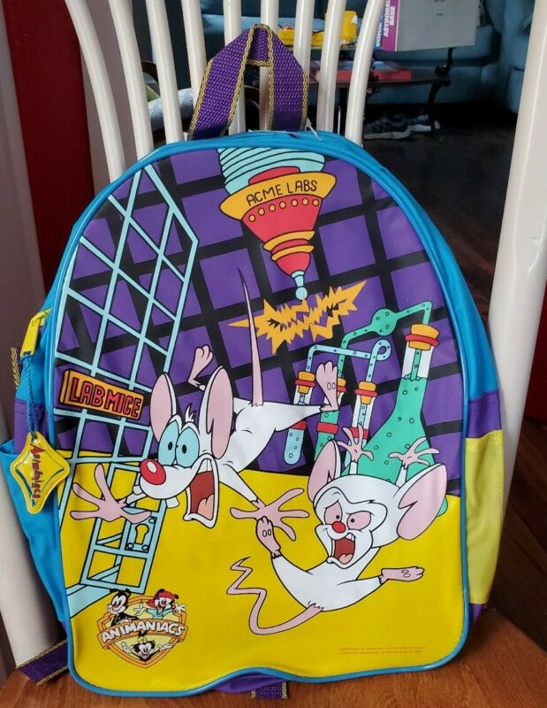 Animaniacs Pinky & The Brain Backpack New W/O Tag - 1995 - Super Rare