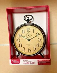 Better Homes and Gardens Nostalgic Pocket Watch Alarm Clock. Battery Operated