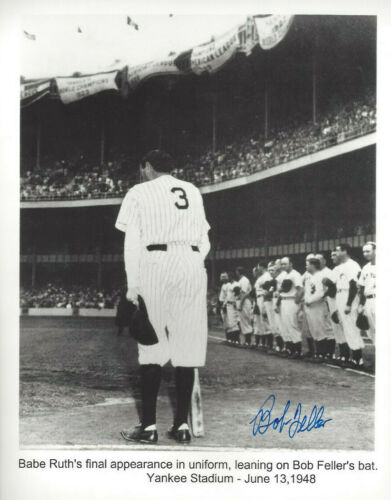 Bob Feller  autographed 8x10 of  Babe Ruth's last NYY Stadium appearance photo*