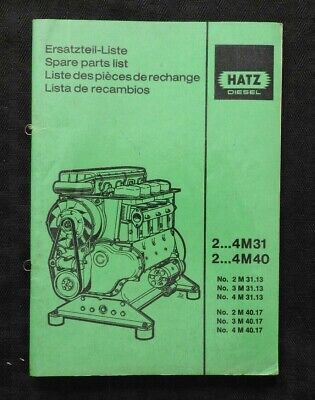 GENUINE HATZ 4M31 4M40 DIESEL ENGINE PARTS CATALOG MANUAL VERY NICE SHAPE