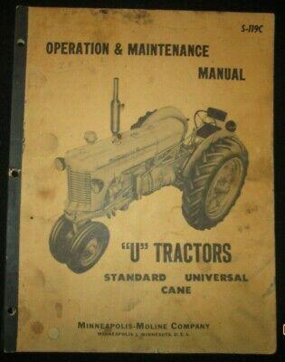 Minneapolis-moline U Tractors Operation Maintenance Manual Original 1950