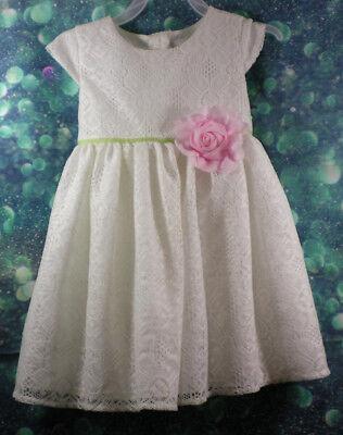 George Girls 3T Party  Dress White pink crochet Rose Birthday Easter Dressy - 3t Birthday Dress