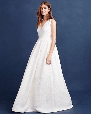 J Crew $1200 Emilia Wedding Gown White Jacquard Sequins bride E7203 16 NWT