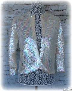 Vintage 1950's Aura Borealis Sequin Sweater Cardigan Jacket Hand Knit Retro