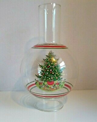 "VTG GLASS CHIMNEY BALLOON GLOBE FOR OIL ELECTRIC LAMP CHRISTMAS SHADE 10"" TALL"